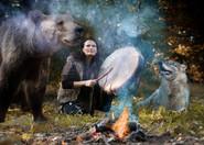 Female shaman playing her shaman sacred