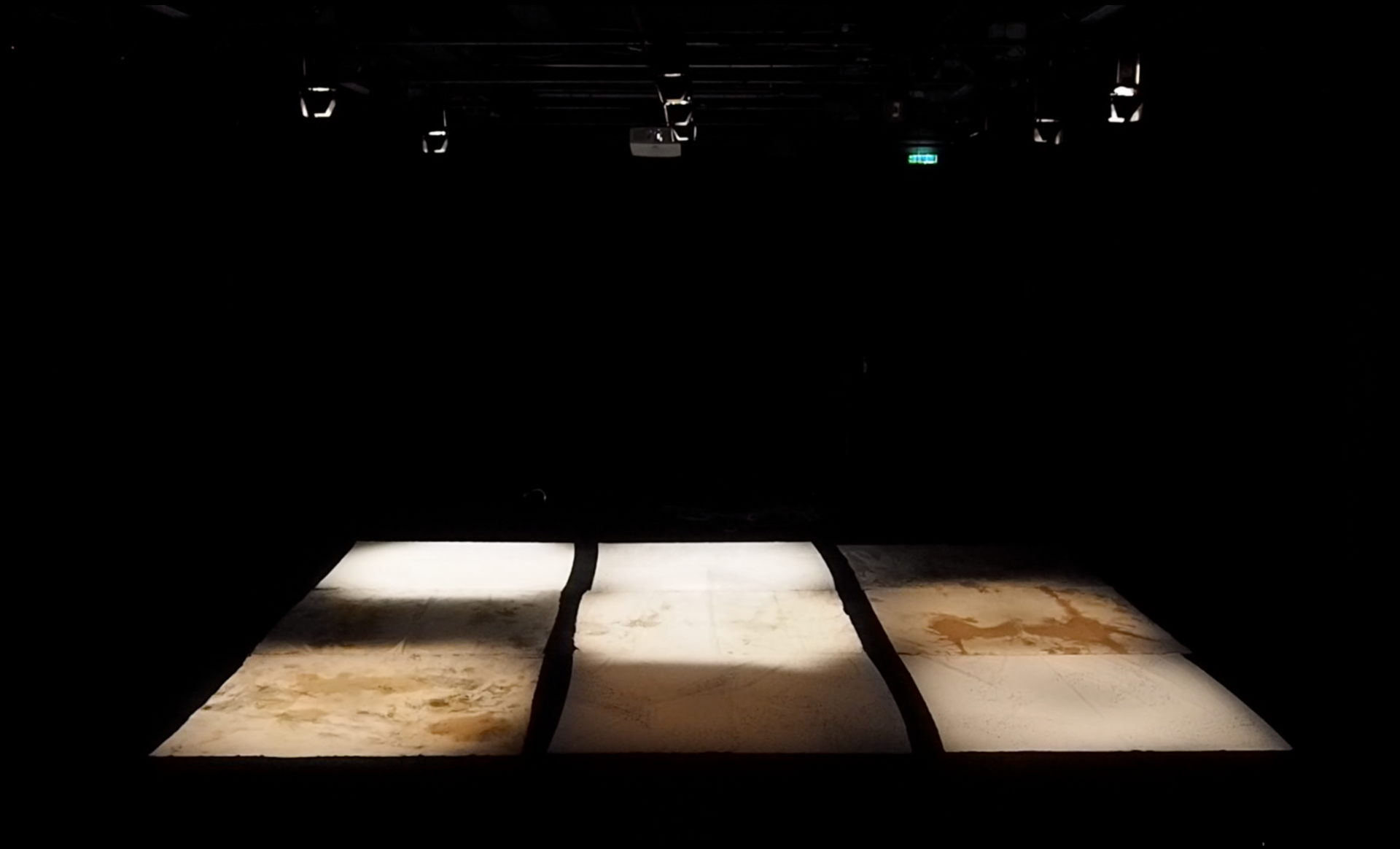 N.Lichtig, Blank Spots, nine frottages, 170x180cm each, performance (light and sound) 21 min