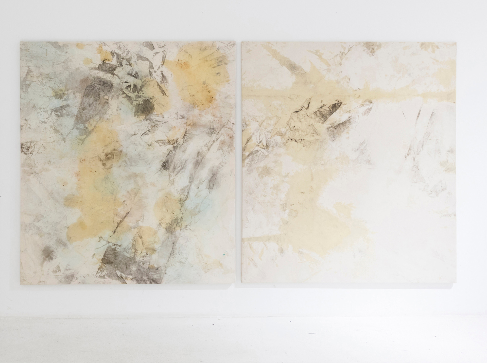 N.Lichtig, Blank spots, two frottages stretched, 160x170 cm each