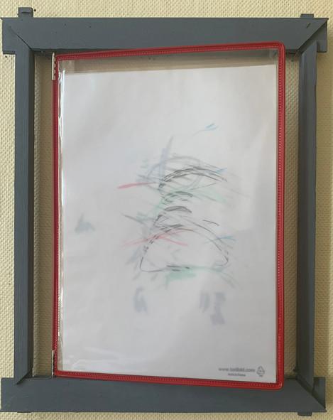 N.Lichtig, Un-Unframed (Gudrun), wood, pencil on paper, transparent film, 40x33 cm, 2020