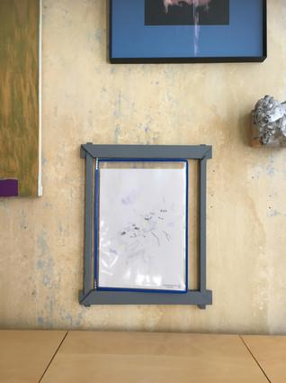 N.Lichtig, Un-Unframed (Klaus), wood, pencil on paper, transparent film, 40x33 cm, 2019