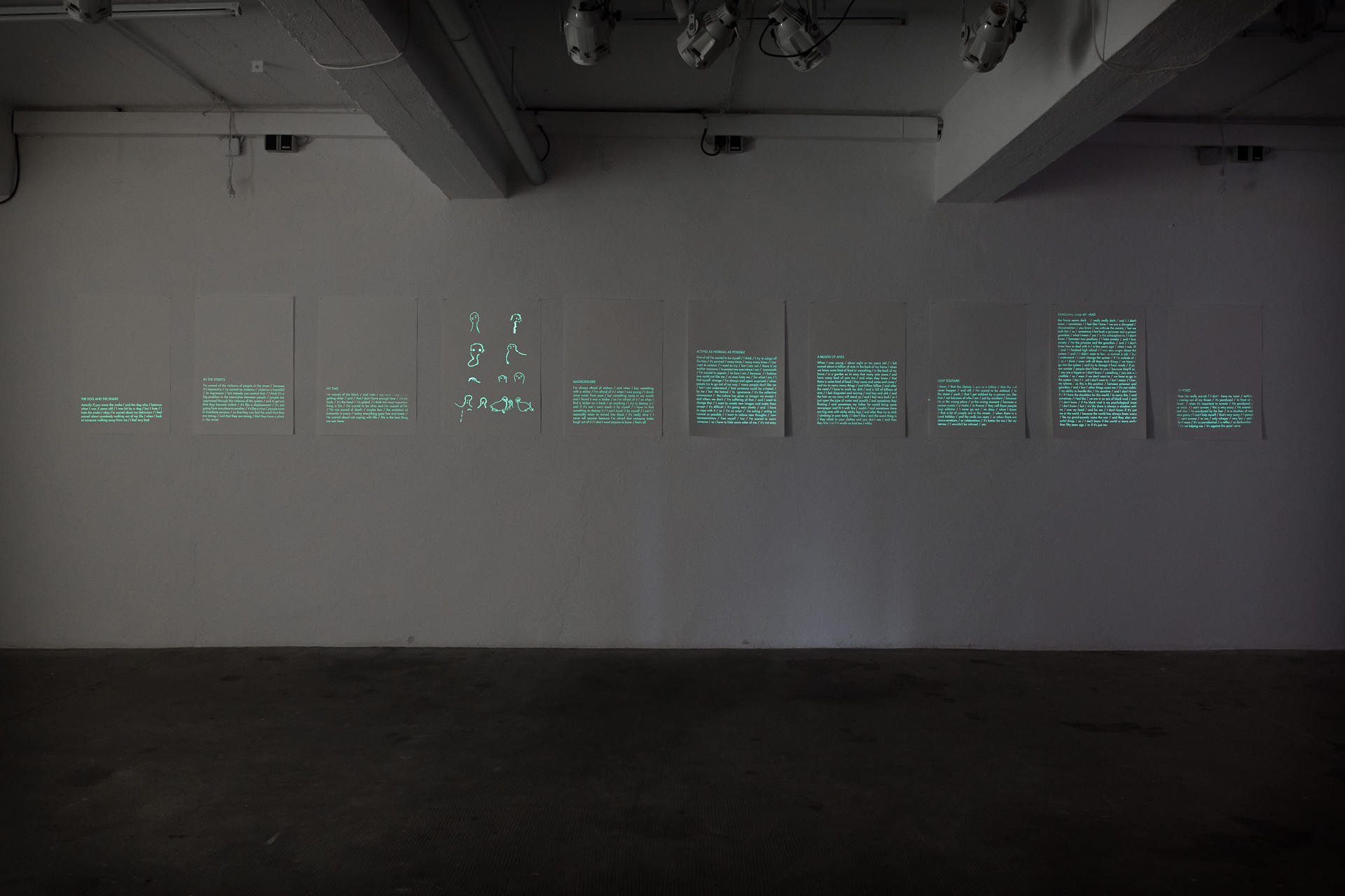 N.Lichtig, Ghosttrap (sound & performance / photography / installation: photoluminescent silkscreen prints, timer, lights), ongoing since 2007