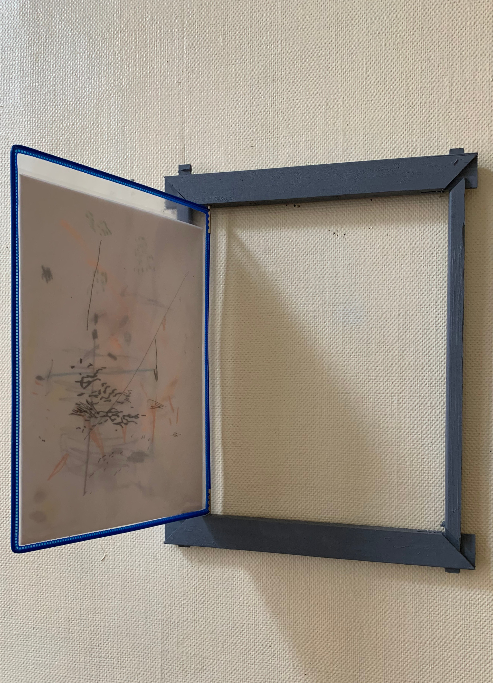 N.Lichtig, Un-Unframed Series (wood, pencil on paper, transparent film, sometimes: pebble) and (silkscreen print on fabric, glass, oil and acrylic on canvas, variable sizes). 2012—ongoing.