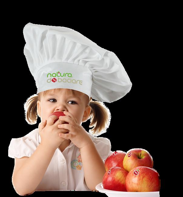 Bimba fondo trasp 4 mele+ cappello chef-
