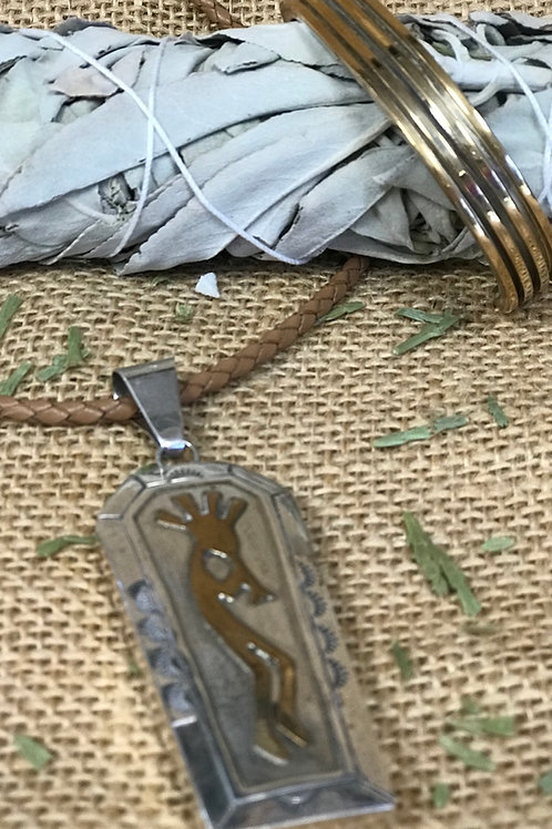 Vintage Kikopelli  Coffin Pendant