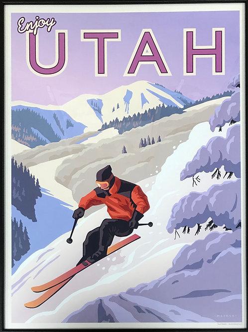 Scenic Poster by Utah Artist David Meikle - Snow Skier