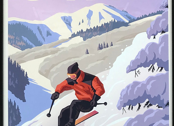 Scenic Poster by Utah Artist David Meikle - Snow Skier
