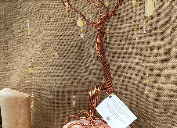 Hand made Copper Wired Tree on Natural Onyx Glow Lamp