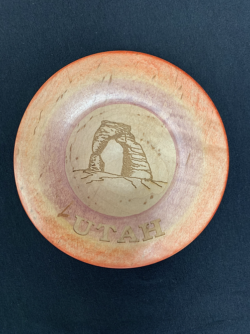 Utah  locally hand crafted wooden Souvenir plate