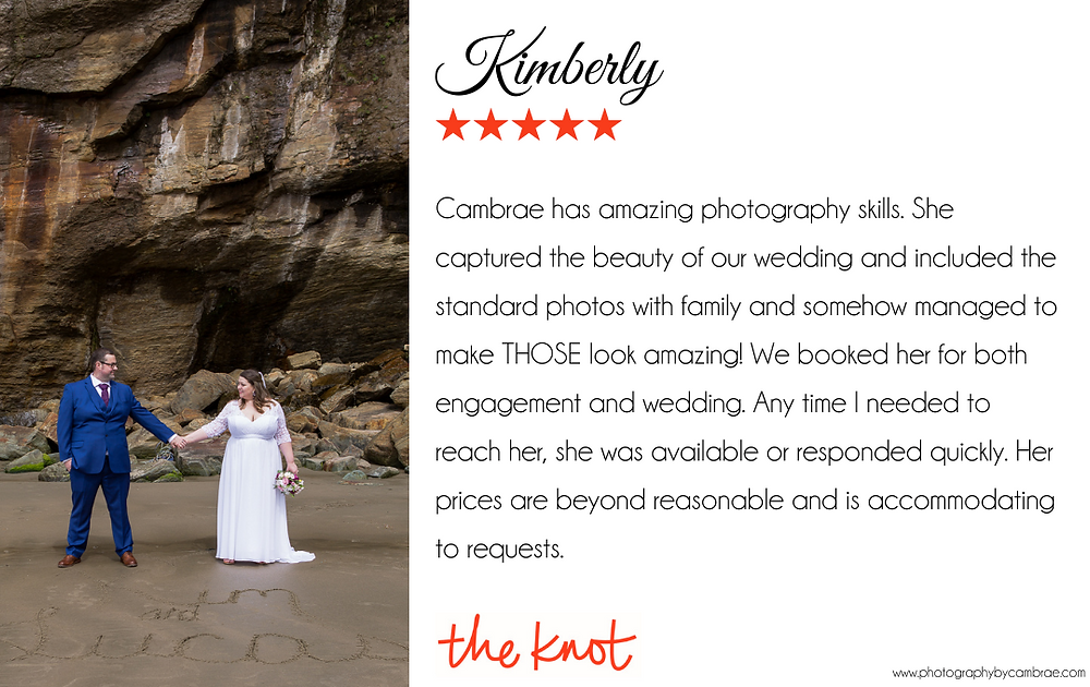 Cambrae has amazing photography skills. She captured the beauty of our wedding and included the standard photos with family and somehow managed to make THOSE look amazing! We booked her for both engagement and wedding. Any time I needed to reach her, she was available or responded quickly. Her prices are beyond reasonable and is accommodating to requests.
