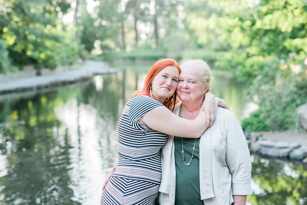 Photographer, Cambrae, embracing her Mother at the Crystal Springs Rhododendron Garden.