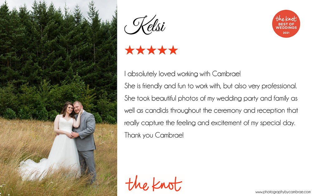 I absolutely loved working with Cambrae!  She is friendly and fun to work with, but also very professional. She took beautiful photos of my wedding party and family as well as candids throughout the ceremony and reception that really capture the feeling and excitement of my special day. Thank you Cambrae!
