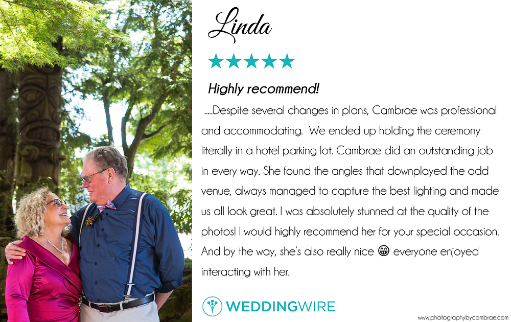 """Just married senior couple look at each other with a smile at the Heathman Lodge in Vancouver, Washington. Along with the review of their wedding photographer from WeddingWire """" .....Despite several changes in plans, Cambrae was professional and accommodating. We ended up holding the ceremony literally in a hotel parking lot. Cambrae did an outstanding job in every way. She found the angles that downplayed the odd venue, always managed to capture the best lighting and made us all look great. I was absolutely stunned at the quality of the photos! I would highly recommend her for your special occasion. And by the way, she's also really nice everyone enjoyed interacting with her."""""""