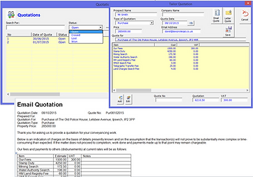 Quotation Management Screen in LawPro