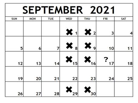 【9月の営業スケジュール】
