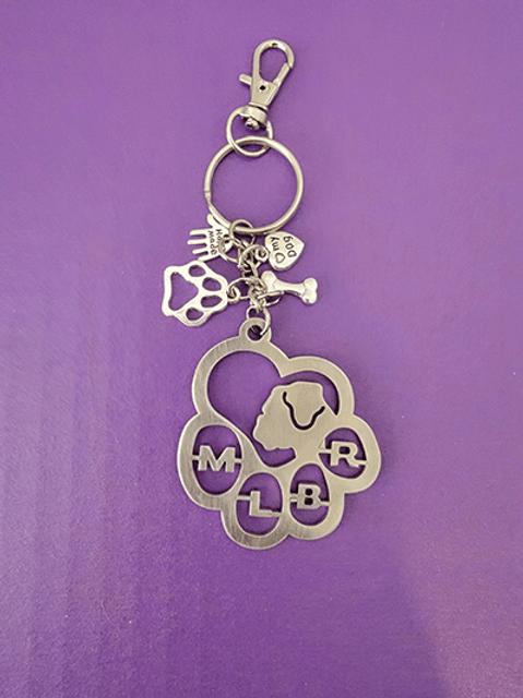 Metal MLBR key rings with trinkets