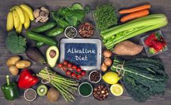 Alkaline foods above the wooden backgrou