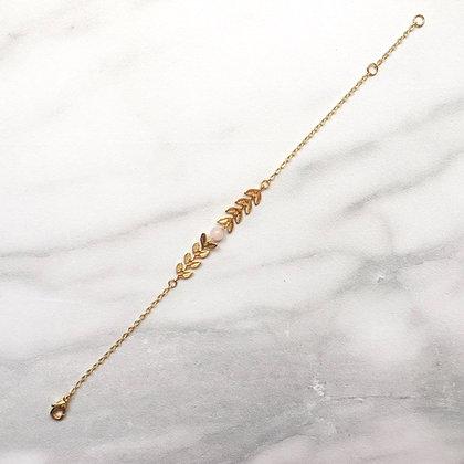 Bracelet chevrons feuillage avec quartz rose