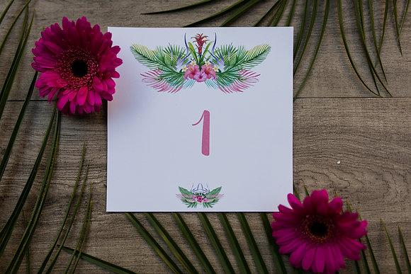 Nom / Numéro de table Tropicale