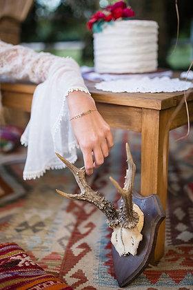 Bracelet chevrons feuillage avec labradorite