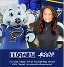 Blues mascot Louie is delivering gift boxes to his fans