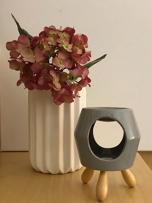 Grey Ceramic & Wood Wax Melt Warmer Gift Set