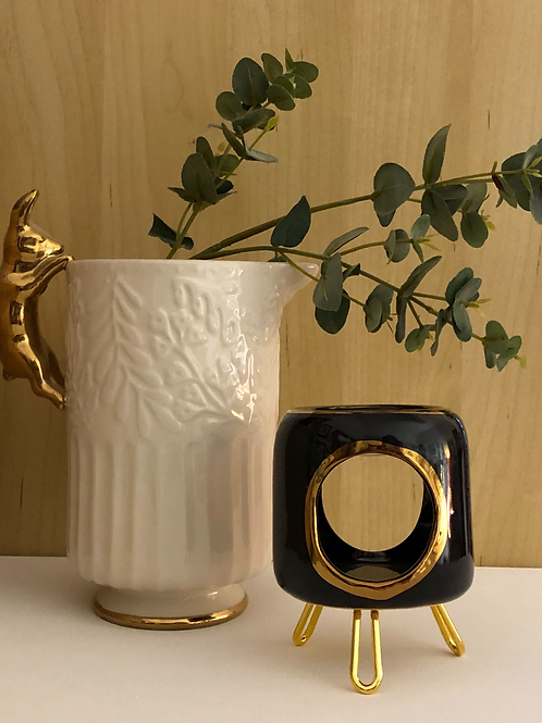 Black & Gold Ceramic Wax Warmer Gift Set