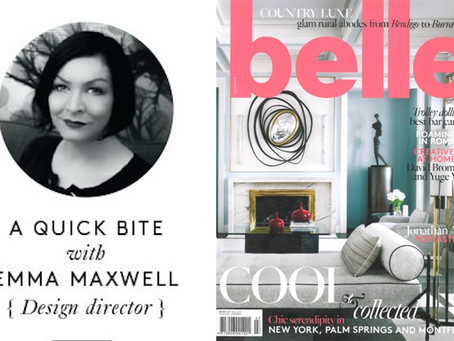 Emma is interviewed in this edition of Australian magazine, Belle about her favourite food, wine and