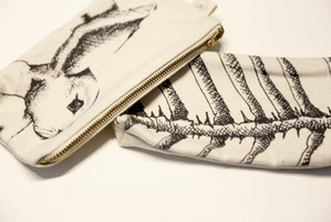 Rabbit and Fish skeleton pencil case, 75NIS