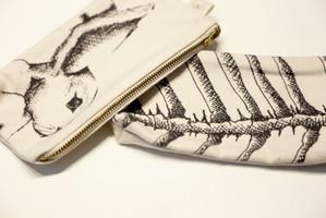 Rabbit and Fish skeleton pencil case, 75NIS
