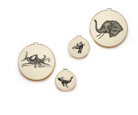 Octopuse, Giraffe, elephant and humpback whale hoops, 23cm, 120NIS, 13cm, 70NIS