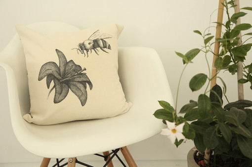 Bee and flower pillow,180NIS