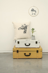 Girrafe pillow, 180NIS and Puffin hoop, 23cm 120NIS