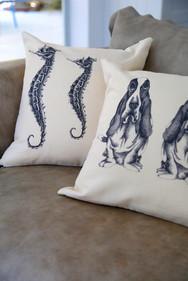 Hushpuppies and Seahorses pillow, 180NIS