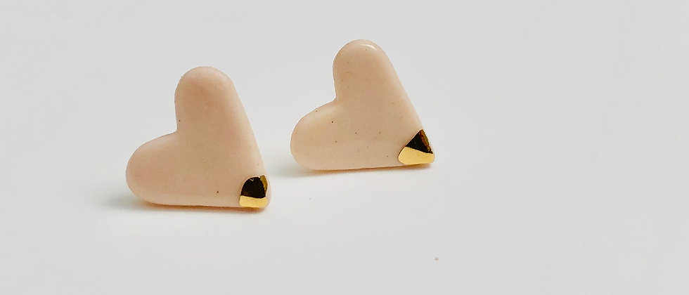 Peach Heart Earrings