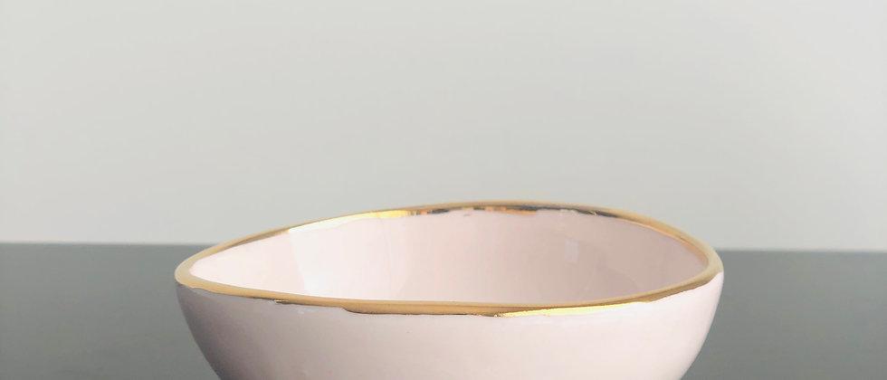 Pale Pink Gold Rim Ring Bowl