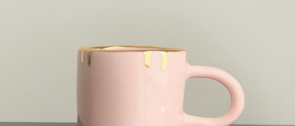 Pink Gold Drip Mug