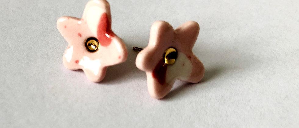 Pink Terrazo Flower Studs