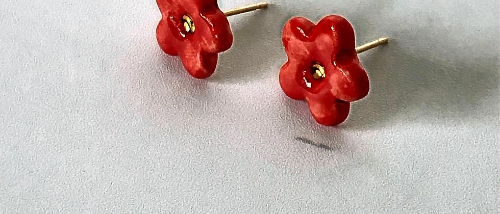 Red Flower Studs