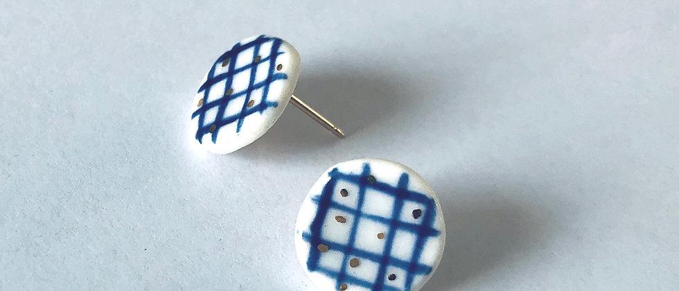 Blue Grid Circle Studs