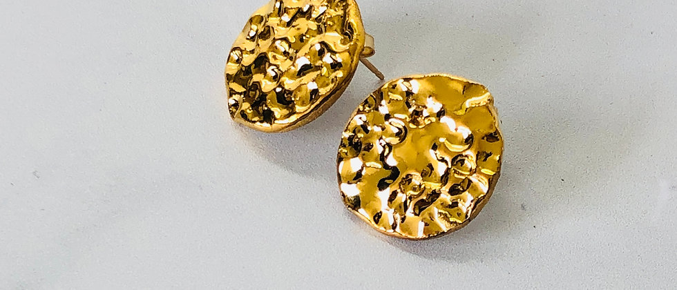 copy of Large Textured Gold Circle Studs