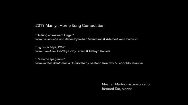 Meagan sings in the Marilyn Horne Song Competition