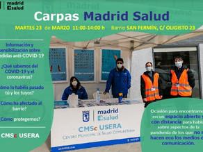 Información de multiples aspectos del COVID en el Centro Municipal de Salud Comunitaria de Usera