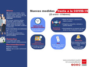 Nuevas medidas de la Comunidad de Madrid para luchar contra la pandemia