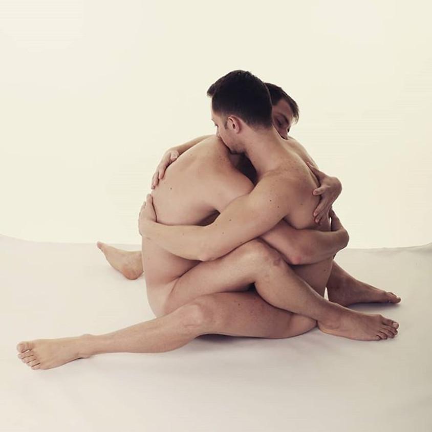 Naturist erotic duo life art session