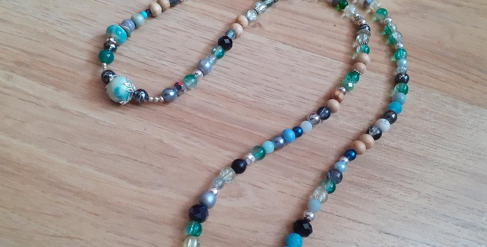 Collier long perle du lac  céramique