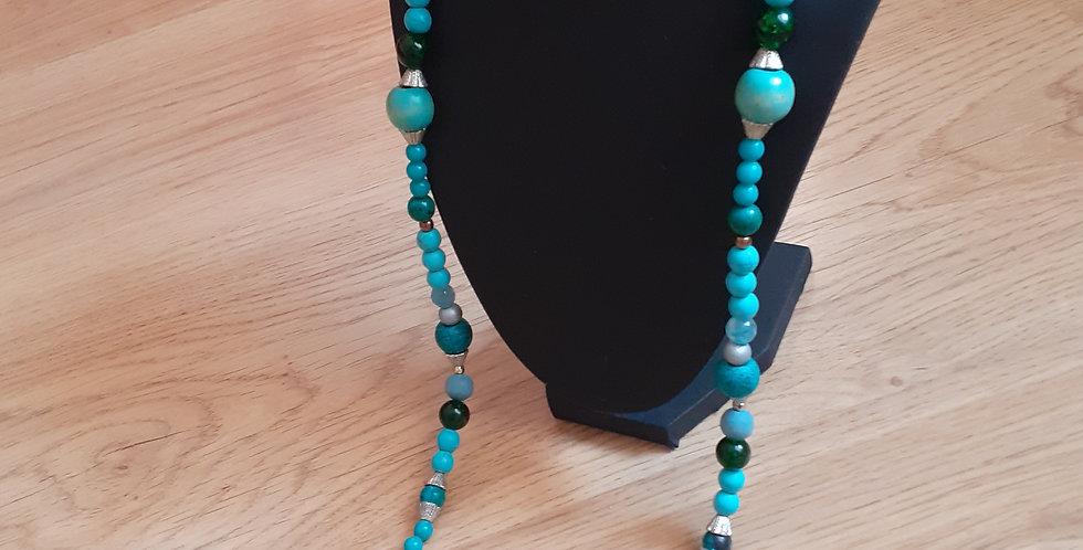 collier long  avec perle du lac céramique