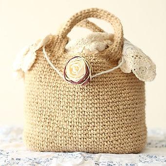 ジュートカフェでお散歩バッグを編むワークショップ