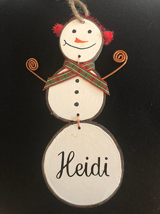 Personalized Snow Man - red ear muffs