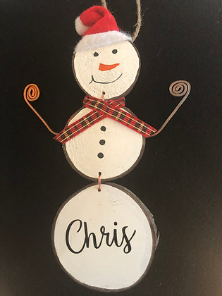 Personalized Santa Snow Man - red plaid/copper arms